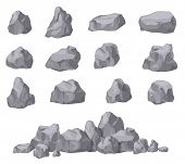 Cartoon Stones. Rock Stone Isometric Set. Granite Boulders, Natural Building Block Shapes. 3d Decora poster