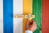 Male Hand Changing The Word Change In To Chance By Switching Letters G And C Over A Colourful Wooden poster