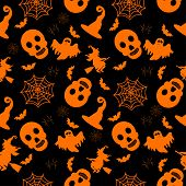 Abstract Seamless Halloween Pattern For Girls Or Boys. Creative Vector Background With Witch, Bat, G poster