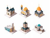 Religion Buildings. Islamic Mosque Arabic Architectural Objects Lutheran Catholic Christian Religion poster
