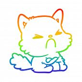 rainbow gradient line drawing of a cute cartoon angry cat poster