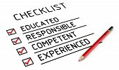 Educated, Responsible, Competent, Experienced. The Checklist. Characteristics Of The Employee: Educa poster