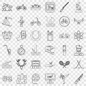 Hobby Icons Set. Outline Style Of 36 Hobby Vector Icons For Web For Any Design poster