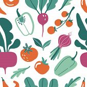 Seamless Pattern With Hand Drawn Doodle Vegetables. Vector Texture For Textile, Wrapping Paper.  Fla poster