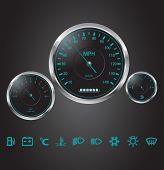 stock photo of mph  - Vector Realistic Car Dashboard - JPG