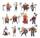 Viking Cartoon. Scandinavian Mythologyy Characters Norway Costume Vikings Warrior Male And Female Ve poster