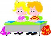 School children at a desk