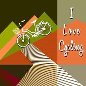 Bicycle With Basket Drives Down. Stylized Mountains Silhouettes. Bike Lane. Lettering - I Love Cycli poster
