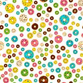 Illustration On Theme Big Colored Seamless Donut Pattern, Type Of Wallpaper For Walls. Seamless Patt poster