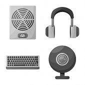 Vector Design Of Desktop And Technology Icon. Collection Of Desktop And Device Vector Icon For Stock poster