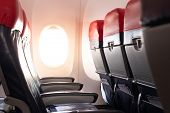 Empty Airplane Seats And Window.passenger Seats In Economy Class.airplane Interior poster