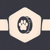 Grunge Paw Print Icon Isolated On Grey Background. Dog Or Cat Paw Print. Animal Track. Monochrome Vi poster