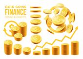 Big Set Realistic Gold Coins.coins In Different Positions, Coin Bars.elements For Your Design Isolat poster