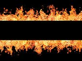 Black Stripe And Fire Flames