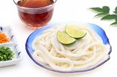 Japanese Chilled Udon Noodles In A Glass Plate With Mentuyu On White Background poster