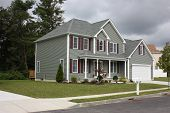 stock photo of driveway  - A Newly completed Residential housing and landscaping - JPG