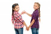 Alright Thumb Up. Fashionable Cutie. Happy Childhood. Keep Hair Braided. Sisters With Long Braided H poster