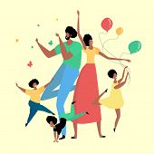 Happy African Family Having Fun And Celebrating A Holiday. Bright Flat Style Picture For Blogs, And  poster
