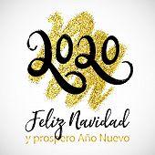Vector Poster Merry Christmas And Happy New Year In Spanish Language Feliz Navidad Y Prospero Ano Nu poster