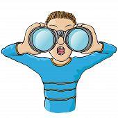 niño con binoculares