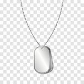 Vector Identification Tags Worn By Military Personnel. Soldier Military Dog Tag On Transparent Backg poster