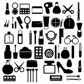A Large Set Of Black And White Icons Of Simple Linear Fashionable Glamorous Beautiful Means For Make poster