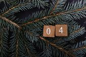 Advent Calendar. Countdown To Christmas. Wooden Numbers. Number Four. Christmas Background. Winter B poster