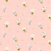 Flowers Daisy Vintage Tender Colors Seamless Vector Pattern. Small Meadow Flower Plants Fabric Texti poster