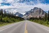 Road Trip. Scenic Road In The Canadian Rockies At Sunny Summer Day, Icefields Parkway, Banff Nationa poster