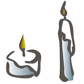 Set Of Black And White Silhouette Burning Candles Depicting Aromatherapy Spirituality Religion Comme poster