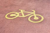 Bicycle Road Sign On The Road. Bicycle Road Sign On The Road. poster