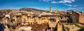 Fes, Morocco. Old Town Panorama, Tanneries And Tanks With Color Paint For Leather. Morocco Africa poster