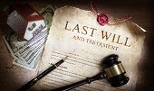 Last Will And Testament With Money And Planning Of Inheritance poster