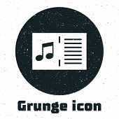 Grunge Music Book With Note Icon Isolated On White Background. Music Sheet With Note Stave. Notebook poster