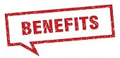 Benefits Sign. Benefits Square Speech Bubble. Benefits poster