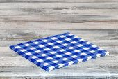 Empty Table Background. Closeup Of A Empty Blue And White Checkered Kitchen Cloth, Textile, Tableclo poster