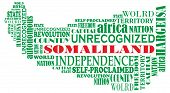Vector Word Map Of Unrecognized Country Somaliland, Africa