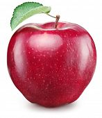 Ripe red apple fruit with green apple leaf. File contains clipping path. poster