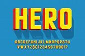 Trendy 3d Comical Font Design, Colorful Alphabet, Typeface poster