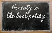 Expression -  Honesty Is The Best Policy - Written On A School Blackboard With Chalk