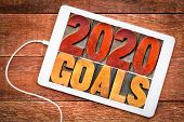 2020 goals banner - New Year resolution concept - text in vintage letterpress wood type printing blo poster