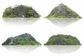 Panorama Island, Hill, Mountain Isolated On A White Background. The Collection Of Mountain. Used For poster