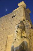 stock photo of ramses  - Night view of the statue of Ramses II - JPG