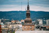 Oslo, Norway. View Of Oslo Cathedral In Norway, Formerly Our Saviors Church In Skyline. poster