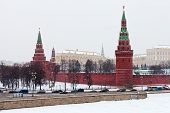 View Of Kremlin In Winter Snowing Day