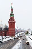 View Of Kremlin Embankment In Winter Snowing Day
