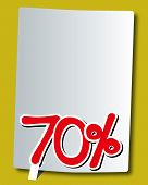 seventy percent icon on white paper