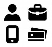Man, briefcase, mobile phone and credit card vector icons