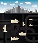 shadow economy illustration. Hand, giving money in bag to other hand, under city