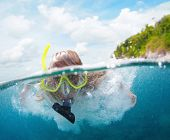 Underwater portrait of a woman snorkeling in tropical sea.